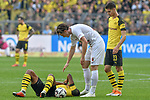 06.10.2018, Signal Iduna Park, Dortmund, GER, DFL, BL, Borussia Dortmund vs FC Augsburg, DFL regulations prohibit any use of photographs as image sequences and/or quasi-video<br /> <br /> im Bild Manuel Akanji (#16, Borussia Dortmund) am Boden Michael Gregoritsch (#11, FC Augsburg) re.<br /> <br /> Foto &copy; nph/Horst Mauelshagen