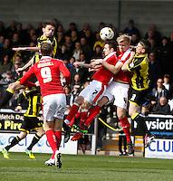 Burton Albion v Barnsley 16.4.16 .Sky Bet League 1 ....... Burtons Tom Flanagan heads