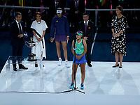 1st February 2020; Melbourne Park, Melbourne, Victoria, Australia; Australian Open Tennis, Day 13, ladies singles final; Sofia Kenin of USA celebrates after winning her finals match against Garbine Muguruza of Spain