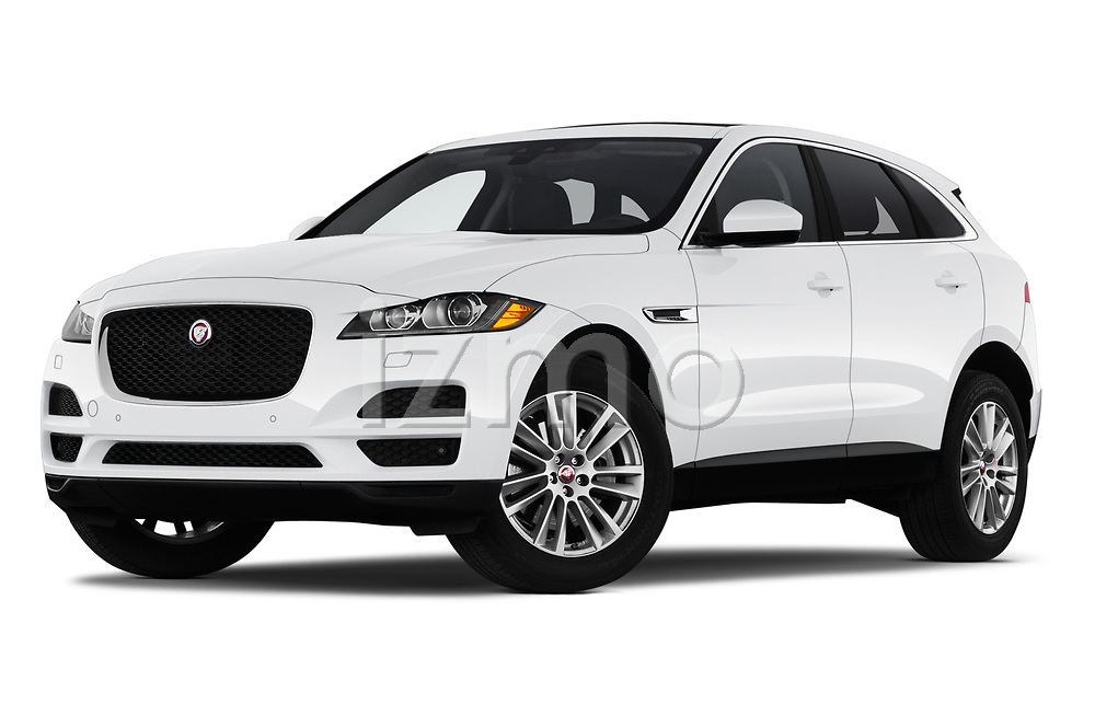 Stock pictures of low aggressive front three quarter view of 2019 Jaguar F-Pace Prestige 5 Door SUV Low Aggressive