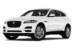 Stock pictures of low aggressive front three quarter view of 2020 Jaguar F-Pace Prestige 5 Door SUV Low Aggressive