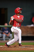 Harrisburg Senators outfielder Derrick Robinson (12) at bat during a game against the New Hampshire Fisher Cats on July 21, 2015 at Metro Bank Park in Harrisburg, Pennsylvania.  New Hampshire defeated Harrisburg 7-1.  (Mike Janes/Four Seam Images)