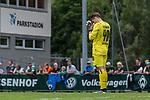 07.07.2019, Parkstadion, Zell am Ziller, AUT, TL Werder Bremen Zell am Ziller / Zillertal Tag 03 - FSP Blitzturnier<br /> <br /> im Bild<br /> Luca Plogmann (Werder Bremen #40) bedient / enttäuscht nach Schlusspfiff, <br /> <br /> im dritten Spiel des Blitzturniers SV Werder Bremen vs Karlsruher SC, <br /> <br /> Foto © nordphoto / Ewert