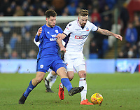 Bolton Wanderers' Mark Beevers is fouled by Cardiff City's Yanic Wildschut<br /> <br /> Photographer Kevin Barnes/CameraSport<br /> <br /> The EFL Sky Bet Championship - Cardiff City v Bolton Wanderers - Tuesday 13th February 2018 - Cardiff City Stadium - Cardiff<br /> <br /> World Copyright &copy; 2018 CameraSport. All rights reserved. 43 Linden Ave. Countesthorpe. Leicester. England. LE8 5PG - Tel: +44 (0) 116 277 4147 - admin@camerasport.com - www.camerasport.com