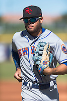 Scottsdale Scorpions left fielder Desmond Lindsay (1), of the New York Mets organization, jogs off the field between innings of an Arizona Fall League game against the Peoria Javelinas at Peoria Sports Complex on October 18, 2018 in Peoria, Arizona. Scottsdale defeated Peoria 8-0. (Zachary Lucy/Four Seam Images)