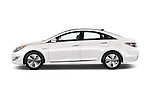 Car Driver side profile view of a 2015 Hyundai Sonata Hybrid Limited 4 Door Sedan Side View