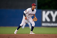 Mahoning Valley Scrappers shortstop Brayan Rocchio (11) during a NY-Penn League game against the State College Spikes on August 29, 2019 at Eastwood Field in Niles, Ohio.  State College defeated Mahoning Valley 8-1.  (Mike Janes/Four Seam Images)