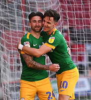 22nd July 2020; Ashton Gate Stadium, Bristol, England; English Football League Championship Football, Bristol City versus Preston North End; Sean Maguire of Preston North End celebrates with Josh Harrop after scoring in the 16th minute 0-1
