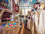 Paschal Divine Liturgy with the blessing of the colorful eggs, St. Sava Serbian Orthodox Church, midnight in Jackson, Calif.