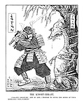 "THE KNIGHT - ERRANT. ""Unhappy creature! One by one I propose to sever the bonds of your miserable ensalvement."" (an InterWar cartoon shows Japan as a Samurai cutting the Foreign Ties from China as a crying dragon tied to a tree)"