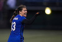 Seattle, WA - Saturday, May 14, 2016: Seattle Reign FC defender Kendall Fletcher (13) yells at the referee during the second half. The Portland Thorns FC and the Seattle Reign FC played to a 1-1 tie during a regular season National Women's Soccer League (NWSL) match at Memorial Stadium.