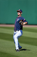 Cal State Fullerton Titans pitcher Chad Hockin (20) warms up in the outfield before a game against the Alabama State Hornets on February 14, 2015 at Bright House Field in Clearwater, Florida.  Alabama State defeated Cal State Fullerton 3-2.  (Mike Janes/Four Seam Images)