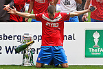 LONDON, ENGLAND - MAY 12: Matty Blair of York City celebrates after winning the FA Carlsberg Trophy after the FA Trophy Final between York City and Newport County at Wembley Stadium on May 12, 2012 in London, England. (Photo by Dave Horn - Extreme Aperture Photography)