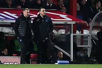 Aston Villa Manager, Dean Smith and Assistant Coach, John Terry anxiously look on during Brentford vs Aston Villa, Sky Bet EFL Championship Football at Griffin Park on 13th February 2019