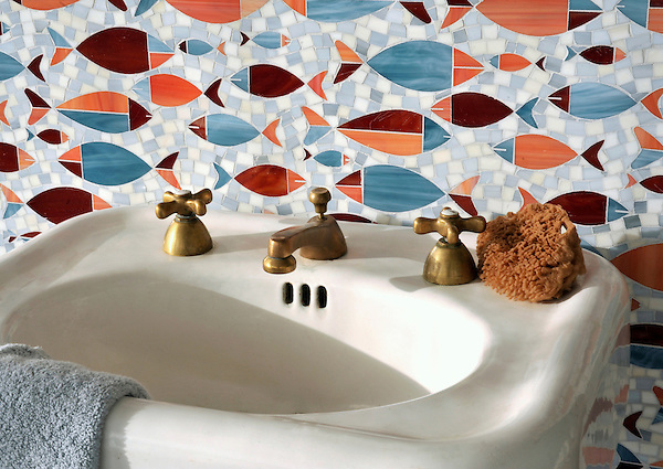 Floating Fish, a glass waterjet  mosaic shown in Mica, Sardonyx, Garnet, Pearl, and Quartz, is part of the Erin Adams Collection for New Ravenna.