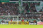 """10.08.2019, wohninvest WESERSTADION, Bremen, GER, DFB-Pokal, 1. Runde, SV Atlas Delmenhorst vs SV Werder Bremen<br /> <br /> im Bild<br /> Banner / Spruchband der Werder Fans in Ostkurve: """"Keine Freunde - keine Solidarität, Scheiss Atlas!"""", <br /> <br /> während DFB-Pokal Spiel zwischen SV Atlas Delmenhorst und SV Werder Bremen im wohninvest WESERSTADION, <br /> <br /> Foto © nordphoto / Ewert"""