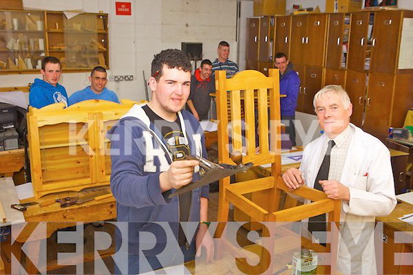 Student Christopher Casey with Joe Kerry Woodwork Teacher and Course Co-ordinator at Tralee Community College.