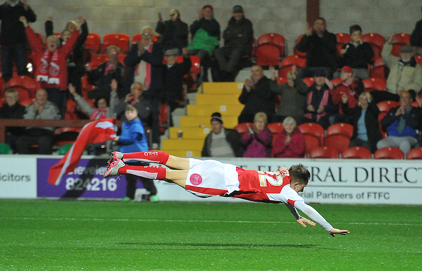 Fleetwood Town's Ashley Hunter celebrates scoring his team's first goal to make the score 1-1<br /> <br /> Photographer Dave Howarth/CameraSport<br /> <br /> Football - Johnstone's Paint Trophy Northern Section Second Round - Fleetwood Town v Shrewsbury Town - Tuesday 6th October 2015 - Highbury Stadium - Fleetwood<br />  <br /> &copy; CameraSport - 43 Linden Ave. Countesthorpe. Leicester. England. LE8 5PG - Tel: +44 (0) 116 277 4147 - admin@camerasport.com - www.camerasport.com