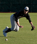 February 22, 2013: Northern Illinois Huskies second baseman Alex Klonowski makes the stop on a grounder in the hole against the Nevada Wolf Pack during their NCAA baseball game played at Peccole Park on Friday afternoon in Reno, Nevada.