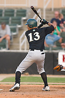 Carlos Guzman (13) of the Savannah Sand Gnats at bat at Fieldcrest Cannon Stadium in Kannapolis, NC, Sunday July 20, 2008. (Photo by Brian Westerholt / Four Seam Images)