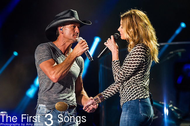Tim McGraw and Faith Hill perform at LP Field during Day One of the 2014 CMA Music Festival in Nashville, Tennessee.