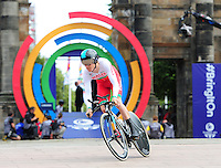 Wales' Geraint Thomas sets off on his time trial<br /> <br /> Photographer Chris Vaughan/CameraSport<br /> <br /> 20th Commonwealth Games - Day 8 - Thursday 31st July 2014 - Cycling - time trial - Glasgow - UK<br /> <br /> © CameraSport - 43 Linden Ave. Countesthorpe. Leicester. England. LE8 5PG - Tel: +44 (0) 116 277 4147 - admin@camerasport.com - www.camerasport.com