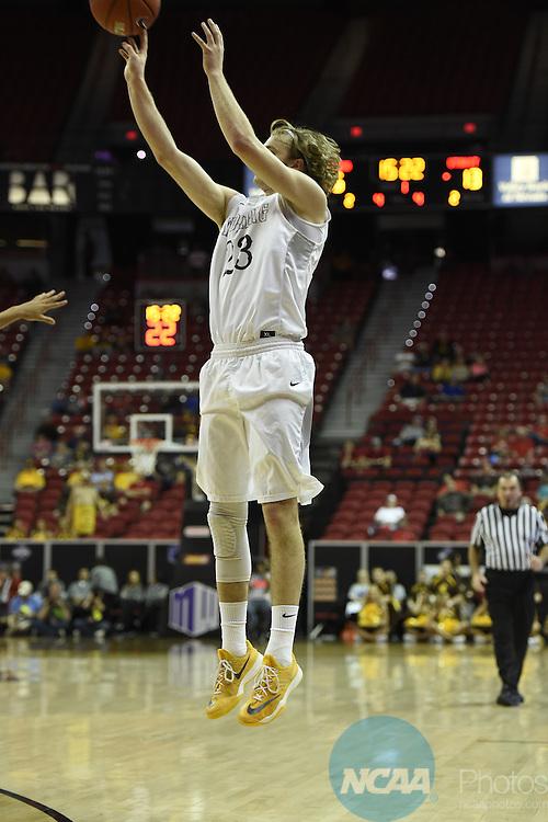 09 MAR 2016: Utah State University takes on University of Wyoming during the 2016 Mountain West Conference Men's Basketball Championship at the Thomas & Mack Center in Las Vegas, NV. Justin Tafoya/NCAA Photos