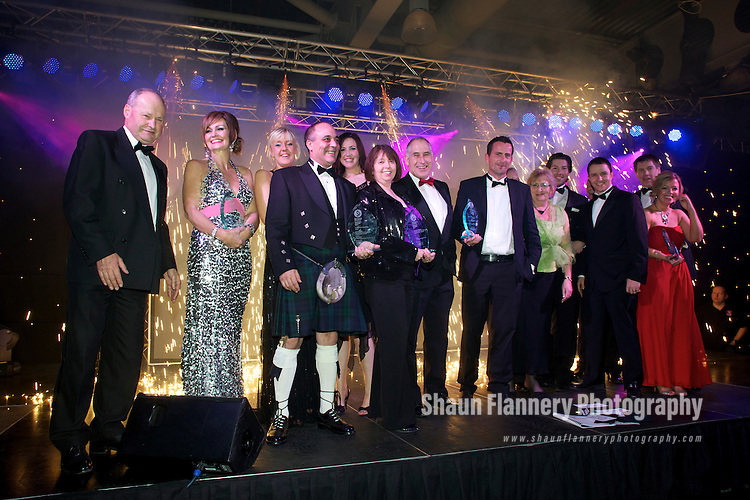 Pix: Shaun Flannery/shaunflanneryphotography.com...COPYRIGHT PICTURE>>SHAUN FLANNERY>01302-570814>>07778315553>>..15th December 2011……………….Doncaster Chamber Business Awards 2011..Doncaster Racecourse & Exhibition Centre..Winners celebrate.