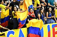 BOGOTÁ-COLOMBIA, 09-01-2020: Hinchas de Colombia, animan a su equipo antes de partido entre Argentina y Colombia en el Preolímpico Suramericano de Voleibol, clasificatorio a los Juegos Olímpicos Tokio 2020, jugado en el Coliseo del Salitre en la ciudad de Bogotá del 7 al 9 de enero de 2020. / Fans from Colombia, cheer for their team prior a match between Argentina and Colombia, in the South American Volleyball Pre-Olympic Championship, qualifier for the Tokyo 2020 Olympic Games, played in the Colosseum El Salitre in Bogota city, from January 7 to 9, 2020. Photo: VizzorImage / Luis Ramírez / Staff.