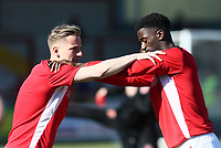 Fleetwood Town&rsquo;s George Glendon and Jordy Hiwula warm up<br /> <br /> Photographer Leila Coker/CameraSport<br /> <br /> The EFL Sky Bet League One - Fleetwood Town v Walsall - Saturday 5th May 2018 - Highbury Stadium - Fleetwood<br /> <br /> World Copyright &copy; 2018 CameraSport. All rights reserved. 43 Linden Ave. Countesthorpe. Leicester. England. LE8 5PG - Tel: +44 (0) 116 277 4147 - admin@camerasport.com - www.camerasport.com