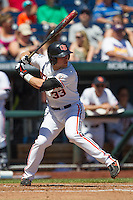 Oregon State designated hitter Ryan Barnes (33) at bat against the Louisville Cardinals during Game 5 of the 2013 Men's College World Series on June 17, 2013 at TD Ameritrade Park in Omaha, Nebraska. The Beavers defeated Cardinals 11-4, eliminating Louisville from the tournament. (Andrew Woolley/Four Seam Images)