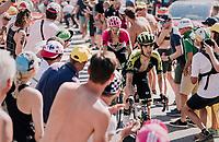 """Mikel Nieve (ESP/Mitchelton-Scott) coming through """"Dutch Corner"""" (#7) on Alpe d'Huez<br /> <br /> Stage 12: Bourg-Saint-Maurice / Les Arcs > Alpe d'Huez (175km)<br /> <br /> 105th Tour de France 2018<br /> ©kramon"""