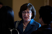 Senator Susan Collins, Republican of Maine, speaks to reporters on Capitol Hill in Washington, DC on September 25, 2018. Credit: Alex Edelman / CNP