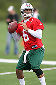 May 2, 2009:  Quarterback Mark Sanchez (6) of the New York Jets during morning practice on day two of the New York Jets Rookie Minicamp at the Atlantic Health Jets Training Center in Florham Park, NJ.  Copyright Mike Janes Photography 2009
