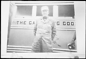 RGS Motorman Henry Wolford in front of unidentified Galloping Goose (#3, #4 or #5).  Same or better image at RD167-096.<br /> RGS  Dolores, CO  1950-1951