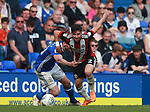 George Baldock of Sheffield Utd and Lukas Jutkiewicz of Birmingham City during the championship match at St Andrews Stadium, Birmingham. Picture date 21st April 2018. Picture credit should read: Simon Bellis/Sportimage