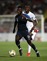 Football: Uefa under 21 Championship 2019, England - France, Dino Manuzzi stadium Cesena Italy on June18, 2019.<br /> France's Jonathan Bamba (l) in action with England's Aaron Wan-Bissaka (r) during the Uefa under 21 Championship 2019 football match between England and France at Dino Manuzzi stadium in Cesena, Italy on June18, 2019.<br /> UPDATE IMAGES PRESS/Isabella Bonotto