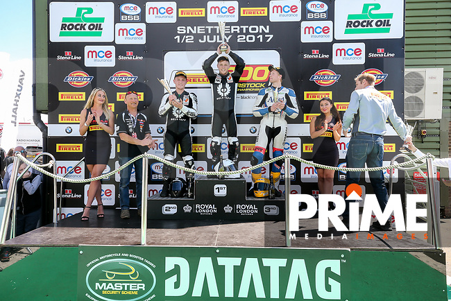 Celebrations as the Neave Twins claiming First and Second place in the Pirelli National Superstock 600 Championship race during Round 5 of the 2017 MCE British Superbikes Championship  at Snetterton Circuit, Norwich, England on 2 July 2017. Photo by David Horn.