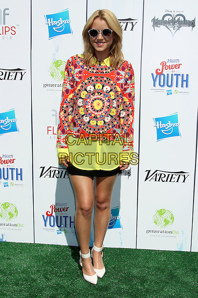 Taylor Spreitler<br /> Variety&rsquo;s Power of Youth presented by Hasbro, Inc. &amp; generationOn held at Universal Studios, Universal City, California, USA, <br /> 27th July 2013.<br /> full length white shirt top ankle strap shoes sunglasses red orange yellow collar print sixties 60s dress <br /> CAP/ADM/RE<br /> &copy;Russ Elliot/AdMedia/Capital Pictures