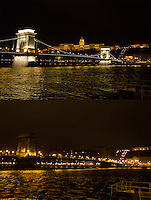 Combination photo of the Cityscape showing the Castle of Buda (back) and the Chain Bridge (front) before (top) and during (bottom) the Earth Hour blackout in Budapest, Hungary on March 31, 2012. ATTILA VOLGYI