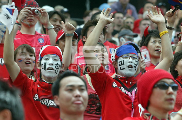 Korea Republic fans. Korea Republic defeated Togo 2-1 in their FIFA World Cup Group G match at the FIFA World Cup Stadium, Frankfurt, Germany, June 13, 2006.
