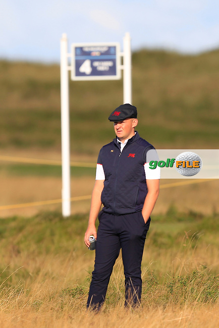 Harry Hall (GB&I) on the 5th during Day 2 Foursomes of the Walker Cup, Royal Liverpool Golf CLub, Hoylake, Cheshire, England. 08/09/2019.<br /> Picture Thos Caffrey / Golffile.ie<br /> <br /> All photo usage must carry mandatory copyright credit (© Golffile | Thos Caffrey)