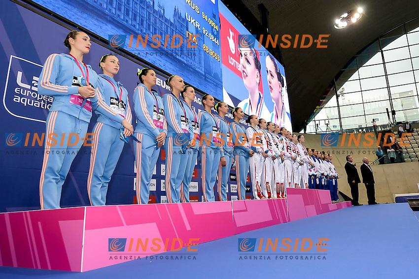 Ukraine, Russia, Italy  <br /> medals<br /> London, Queen Elizabeth II Olympic Park Pool <br /> LEN 2016 European Aquatics Elite Championships <br /> Team Technical final<br /> Day 01 09-05-2016<br /> Photo Giorgio Scala/Deepbluemedia/Insidefoto