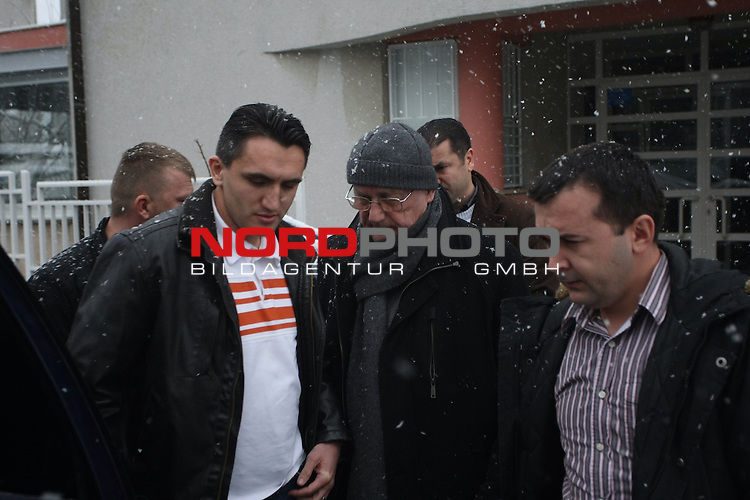 24.01.2014., CroatiaZagreb -  Former Croatian secret police chief Josip Perkovic accompanied by police officers in civilian clothes was taken from his home. Germany has accused former secret police chief Perkovic of complicity in the murder of Croatian dissident Stjepan Djurekovic. The former oil magnate was killed in Wolfratshausen, Bavaria, in 1983. At the time, Perkovic was a high-ranking officer of Yugoslavia's State Security Administration (UDBA). The Communist secret police was constantly persecuting politically active emigrants and so-called enemies of the Yugoslav state.Today is expected to be extradited to Germany<br /> <br /> Foto &copy;  nph / PIXSELL / Grgur Zucko