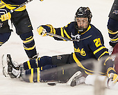 Clayton Jardine (Merrimack - 21) - The Boston College Eagles defeated the visiting Merrimack College Warriors 2-1 on Wednesday, January 21, 2015, at Kelley Rink in Conte Forum in Chestnut Hill, Massachusetts.