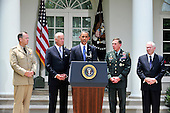United States President Barack Obama, center, announces he is replacing General Stanley McChrystal, United States Army, Commander, International Security Assistance Force (ISAF) with General David H. Petraeus, Chief of the United States Central Command (CENTCOM), center right, in Washington, D.C. on Wednesday, June 23, 2010.  From left to right: Admiral Michael Mullen, Chairman, Joint Chiefs of Staff; Vice President Joseph Biden; President Obama; General Petraeus; and U.S. Secretary of Defense Robert Gates..Credit: Ron Sachs / Pool via CNP