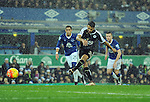 Riyad Mahrez of Leicester City scores his goal to make it 2-1<br /> - Barclays Premier League - Everton vs Leicester City - Goodison Park - Liverpool - England - 19th December 2015 - Pic Robin Parker/Sportimage