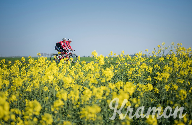 Jasper Stuyven (BEL/Trek-Segafredo) &amp; Matthias Br&auml;ndle (AUT/Trek-Segafredo)<br /> <br /> Team Trek-Segafredo relaxed training ride  ahead of the 2017 Paris-Roubaix 1 day before the race