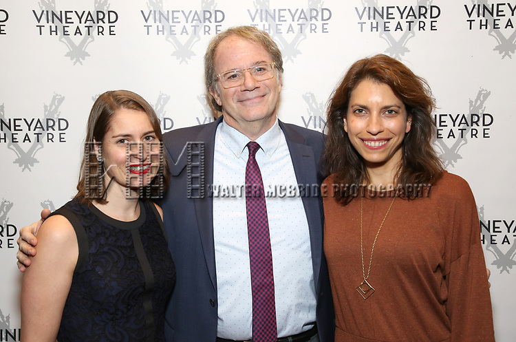 "Suzanne Appel, Doug Aibel and Sarah Stern during the Opening Night Celebration for ""Good Grief"" at the Vineyard Theatre on October 28, 2018 in New York City."