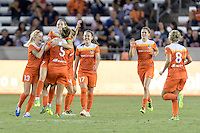 Houston, TX - Saturday Sept. 03, 2016: Denise O'Sullivan, Cari Roccaro, Kealia Ohai celebrates scoring, Andressa Machry during a regular season National Women's Soccer League (NWSL) match between the Houston Dash and the Orlando Pride at BBVA Compass Stadium.